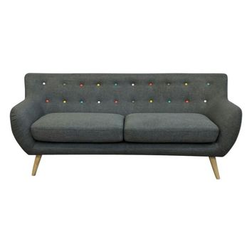 Ebba 3-Seater Sofa - Grey (with multicolor buttons) | Modern, Mid-Century & Scandinavian | GFURN