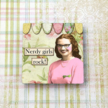 "Nerdy Girls Rock Funny Magnet, Smart  Retro Girl Nerd Humor, 2"" (5cm) Ceramic Tile Magnet for Refrigerator, Fridge, Cubicle Decor, Dorm"