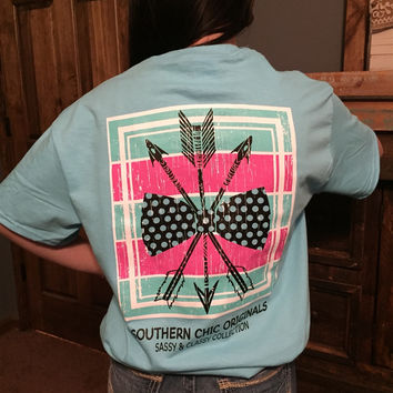 Southern Chics Sassy Classy Collection Preppy Bow & Arrow Distressed Bright T Shirt