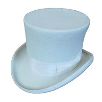 White Wool Top Hat (7 inch)