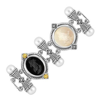 18K Yellow Gold and Sterling Silver Black and Crystal Venetian Cameo Bracelet