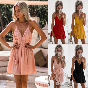The skirt with shoulder-straps sexy v-neck pink belt dress Hot style European and American women's clothing 2019 4 color