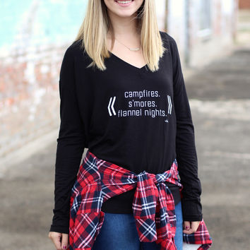 Campfires, S'mores, Flannel Nights Top {Black}