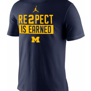 Nike Jordan Michigan Wolverines Mens 'RE2PECT is Earned' T-Shirt - Large - NWT