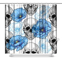 Skull and Blue Poppies Prints Shower Curtain for Bathroom