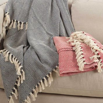 Diamond Motif Fringe Throw