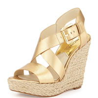 Giovanna Leather Espadrille Wedge, Pale Gold - MICHAEL Michael Kors
