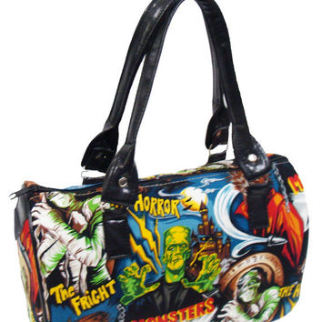 Handbag Doctor bag Satchel Style Monster Frankenstein Horror Movie Alexander Henry Fabric Cotton Bag Purse, new