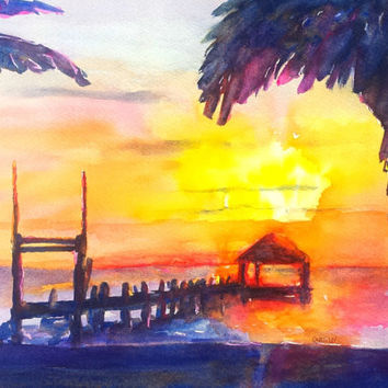Beachy Watercolor Landscape, Tropical Sunset, Overwater Bungalow, 9x12, Romantic, Honeymoon Travel, Cozumel, Seascape, Beach theme wall art