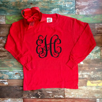 Comfort Colors Long Sleeve Glitter Monogram T Shirt with Matching Monogram Hair Bow, Monogrammed gifts, Girls, Toddler, Youth, Adult sizes