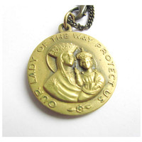 Vintage brass St Christopher and Virgin Mary and child pendant