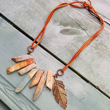 AQUA TERRA Leather Cord Necklace with Gold Feather 231E