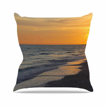 "Philip Brown ""Sunset Beach"" Coral Gold Throw Pillow"