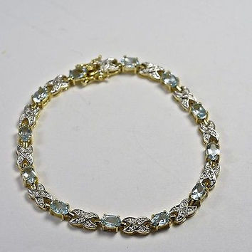 Vintage Sterling Silver Tennis Bracelet With Blue Topaz Gold plated 925 Jewelry