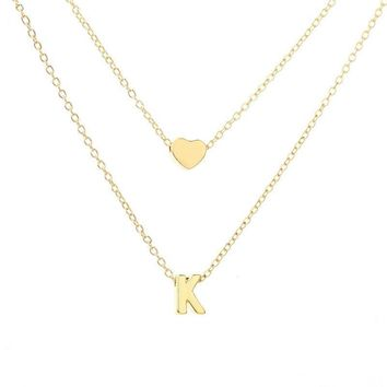 Super Cute Unique Gold Plated Love Heart  Letters Necklace Chains Fashion Simple Elegant Charm Statement Necklaces Women Girl Jewelry Accessories Christmas Gift
