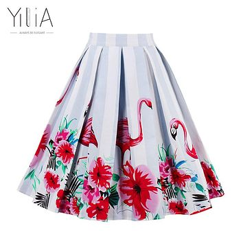 Yilia Skirt Womens Long Maxi Midi High Waist Flamingo Print 50s Vintage Skirts 20 Color Summer Autumn 2017 Elegant Sexy Bohemian