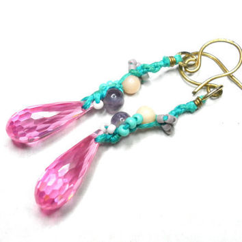 Woven knotted earrings AAA pink faceted quartz by zurdokero