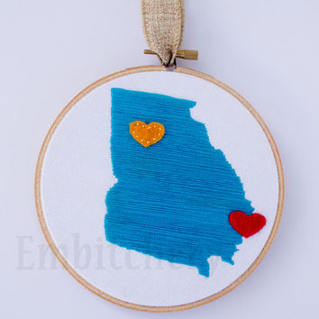 State Art - State Outline Art - Georgia State Outline - Custom Hoop Art - Embroidery Hoop Art - Hometown Art - Custom Home Decor - Map Art
