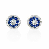 .43ct Diamond and Blue Sapphire 18k White Gold Cluster Earrings