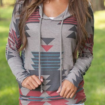 Gray Geometric Pattern Long Sleeves Hoodie