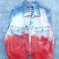 Red, White, & Blue Studded Jean Vest - Revamped Vintage 90s Union Bay Denim Jacket, Button Front, Silver Studs - Men's Size Medium
