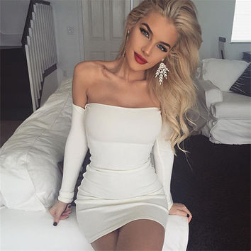 Autumn Winter Fall 2016 Women Off Shoulder Long Sleeve Silm Casual Slash Neck Strapless Bandage  Bodycon Mini Dress _ 9245