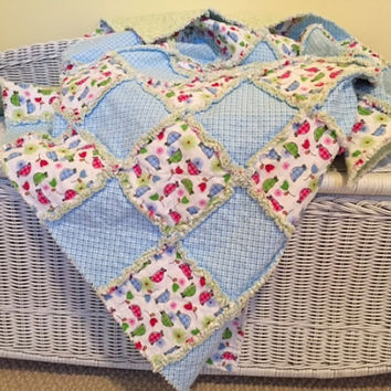 Baby Rag Quilt in Soft Cozy Flannel with cute little turtles