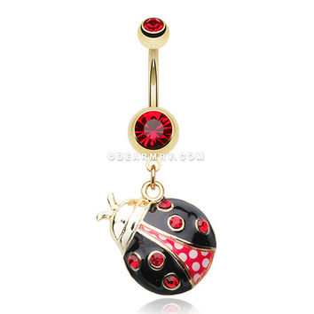 Golden Charming Ladybug Belly Button Ring (Red/Black)