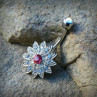 Silver Flowering Burst Belly Button Ring Gem Center Body Jewelry 14ga Surgical Stainless Steel Navel Ring