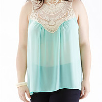 Plus-Size Sheer Top with Crochet-Lace Bib - Rainbow