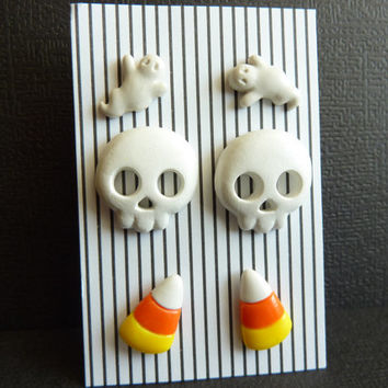 3 Pairs Halloween Stud Earrings, Little White Ghost Earrings, White Skull Earrings, Candy Corn Earrings, Polymer Clay, Nickel Free Posts