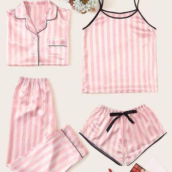 4pcs Striped Satin Pajama Set