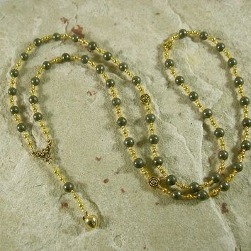Eris Prayer Bead Necklace in Pyrite: Greek Goddess of Discord, Strife and Rivalry, Provoker of Competition, Agent of Ambition