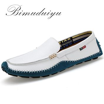 Genuine Leather Men Shoes Soft Moccasins Fashion Men Flats Comfy Casual Driving Boat
