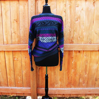 vintage aztec slouchy grandpa sweater. Meister. made in Hong Kong. size L to XL