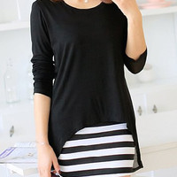 Black Blouse with Striped Sleeveless Dress