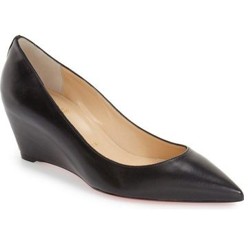 Christian Louboutin 'Pipina' Black Pointy Toe Wedge Pumps 8442 Size 40 EU NEW!