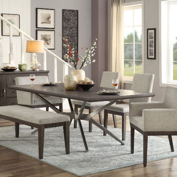 Home Elegance HE-5581-84 6 pc Ibiza oak finish wood stainless steel base dining table set