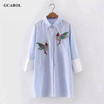 Women Oversized Sequined Embroidered Birds Blouse Cotton Blends 3/4 Sleeve High-end White&Blue Striped Long Shirt For 4 Season