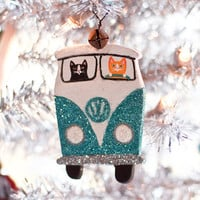 Christmas Volkswagen Clay Cat Folk Art Ornament