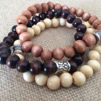Wood Bead Stretch Bracelets, Set of 3 Wood Bead Bracelets, Wood Bead & Silver Bracelet