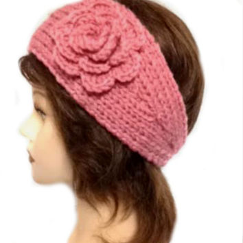 Women's Rose Pink Large Crochet Flower Adjustable 2 Button Stretch Headband Ear Warmer Crochet Headband