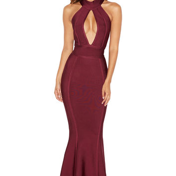 Clothing : Max Dresses : 'Ricadonna' Plum Bandage Maxi Dress