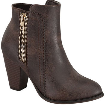 Side Zipper Brown Leather Bootie