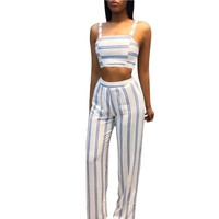 Yuerlian Women Blue White Strips Bandage Jumpsuits Twinset 2 Pieces Rompers 2017 Summer New Lady Tie Up Strappy Leotard Overalls