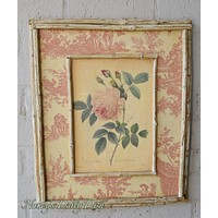 Vintage English Country Rose Print on Board w/ Pink Toile & Distressed Bamboo Frame