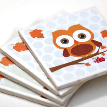Fall Owl coasters, Fall Decor, Fall Coasters set of 4, Owl decor, ready to ship