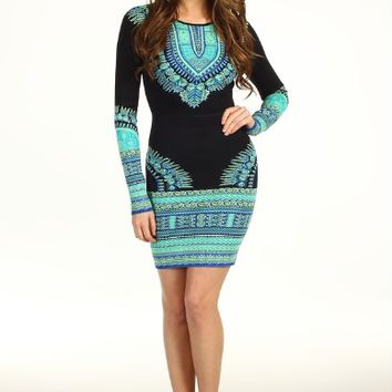 Black And Blue Print Long Sleeve Bodycon Dress