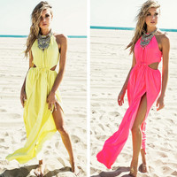 FASHION DEEP V BACKLESS BEACH DRESS
