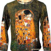 THE KISS Gustav Klimt Long Sleeve Art Print T Shirt MENS M Medium PN NEW